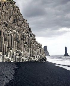 Reynisfjara, a black-sand beach found on the South Coast of Iceland - FunSubstance Iceland Beach, Iceland Road Trip, Iceland Travel, Iceland Black Sand Beach, Map Iceland, Iceland Snow, Reykjavik Iceland, Iceland Wallpaper, Iceland Landscape