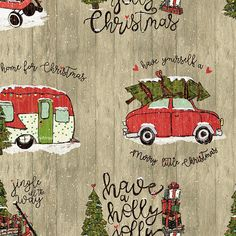 By 1//2 Yard Loralie Designs Fabric Vintage Holiday Trailer Toss Black RV Camper