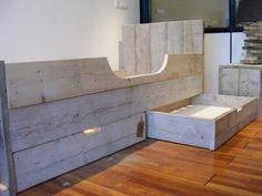 Bed van oud steigerhout gemaakt op voorraad alle maten (12809030)
