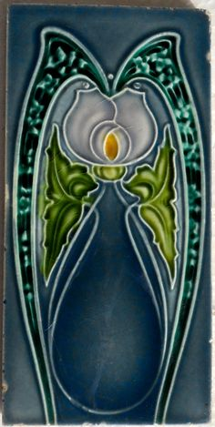 """Good relief moulded A rated Art Nouveau design from Henry Richards c1905/7.Tile reference number 1096 in the book """"Art Nouveau Tiles with more Style"""""""
