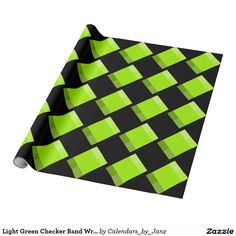 Light Green Checker Band Wrapping Paper by Janz