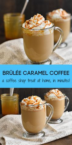 Caramel Brûlée Coffee - Make a coffeehouse-style drink at home in just minutes! Coffee, milk, caramel sauce and a touch of brown sugar come together to make a sweet caramel coffee treat! Coffee Drink Recipes, Starbucks Recipes, Starbucks Drinks, Starbucks Coffee, Hot Coffee Recipe At Home, Alcoholic Coffee Drinks, Ninja Coffee Bar Recipes, Tea Drinks, Detox Drinks