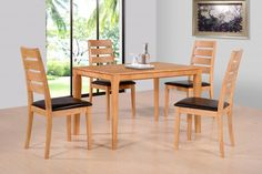 The Logan Dining Set in oak is manufactured from solid rubberwood throughout and features synthetic leather seat pads in Brown - http://www.furn-on.com/logan-dining-p-117281.html