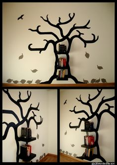 DIY Tree bookshelf Tree: my own design, wall stickers Shelves: some mysterious swedish company ;) Leaves: thin cardboard