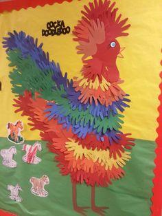 Handprint rooster at preschool on our farm bulletin board