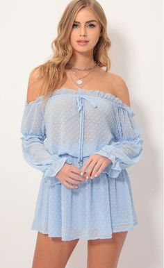 """Style: Cue the song, """"Wild Thoughts"""" by Rihanna and dance the day and night away in this off the shoulder dress! Made in our textured dotted chiffon in a gorgeouse light denim blue. Pair with cute wedges and clutch. Made In Los Angeles Tight Dresses, Day Dresses, Sleeve Dresses, Dress Skirt, Dress Up, Bodycon Dress, Blue Summer Dresses, Pink Summer, Girls In Mini Skirts"""