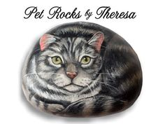 Grey Tabby Cat Handpainted Beach Stone