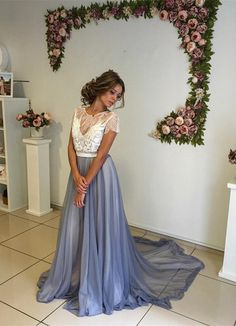 Prom Dresses,Modern Short Sleeve Lace 2017 Evening Dress A-line Sweep Train