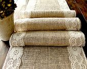 Burlap table runner wedding table runner with by HotCocoaDesign