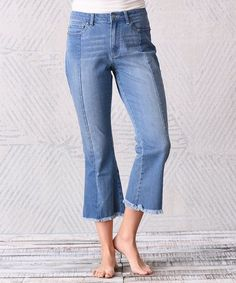 17ad397267e Dark Medium Wash Frayed-Hem Relaxed crop ladies jeans   Stylish ankle length  jeans ladies   Chic Fashion for Women