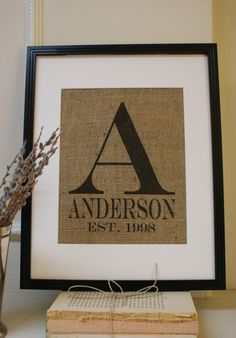 ORIGINAL... Modern Monogram with Name and Est. Date for Engagements, Weddings, etc.  - La Poste Burlap Announcements . Artwork only.. $20.00, via Etsy.