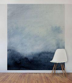 Blue Watercolour Wall Mural, Self Adhesive Fabric or Paste&Glue Wallpaper, Watercolour Home Decor