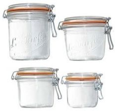 Le Parfait French Wide-Mouth Glass Canning Jar With Gasket and Lid, traditional food containers and storage Glass Storage Jars, Jar Storage, Glass Jars, Kitchen Storage, Storage Ideas, Weck Jars, Canning Jars, Canning Equipment, Canning Process