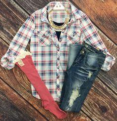 3d3d10bcdb63b Penny Plaid Flannel Top  White Pink Blusas De Moda