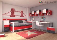 Habitación Infantil: Dormitorio con cama deslizante para dos personas | Dormitorio juvenil con cama deslizante para ambos colchones de 190x90 cm con medidas de 210 cm de la