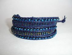 Leather Wrap Beaded Bracelet  5x  Dark Blue by LOVEwhatIdoDesigns