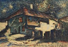 Gheorghe Petrașcu - Nocturnă (Case la Turtucaia) Noiembrie, 1 Mai, Romania, Europe, Paintings, Artists, Country, Life, Houses