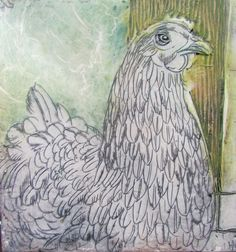 Poultry Portrait I 200x200mm encaustic on board