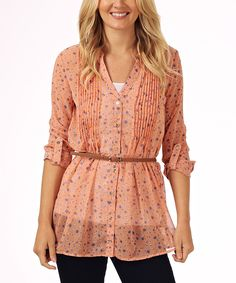 Peach Floral Belted Tunic   zulily