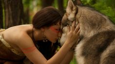 Native photoshoot .. Native american girl and wolf
