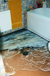 These amazing 3D bathroom floors.   37 Subtle Ways To Bring The Ocean Into Your Home