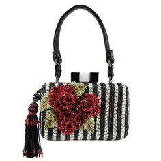 64d652e3a0 Mary Frances Jazz Club Black White Red Flower Handbag Bag Beaded Summer  2016 New