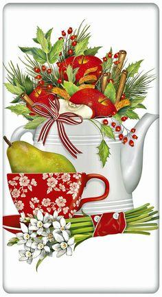 "Holiday Fruit Teapot 100% Cotton Flour Sack Dish Towel Tea Towel - 30"" x 30"" by Designer Mary Lake Thompson"