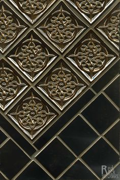 Inspired by tin ceilings? Get the look in ceramic with Loure Accent in this gorgeous metallic glaze- by Red Rock Tileworks Decorative Tile, Beautiful Interior Design, Interior Styling, Building A New Home, Decor Interior Design, Rock Tile, Feature Tiles, Mosaic Stone, Tin Ceiling