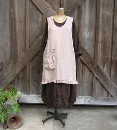 linen jumper pinafore dress tunic smock  this color is out of stock other colors available. $129.00, via Etsy.