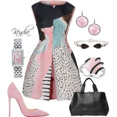 A fashion look from October 2015 featuring Alberta Ferretti dresses, Christian Louboutin pumps and Theory tote bags. Browse and shop related looks.