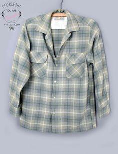 1950's Grey Green Mens Plaid Wool Button Up Shirt - M