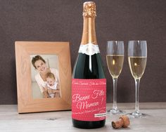 Champagne Fête des mères Etiquette Champagne, White Wine, Alcoholic Drinks, Bottle, Glass, Parents, Packaging, Deco, Special Birthday