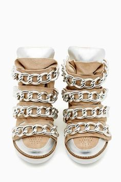 Wedge Sneaker in Nude by Jeffrey Campbell Colorful Sneakers, Cute Sneakers, Wedge Sneakers, Girls Sneakers, Cute Shoes, Me Too Shoes, Sock Shoes, Shoe Boots, Skull Shoes
