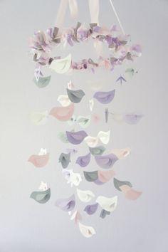 Nursery Decor Mobile Lavender Baby Pink Gray U0026 By LoveBugLullabies, $63.00