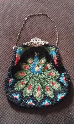 1920 Vintage Peacock bead art clutch purse