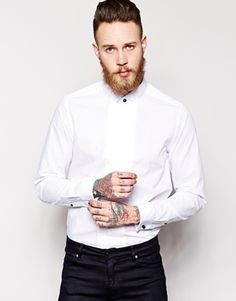 ASOS Smart Tux Shirt With Contast Wing Collar And Double Cuff