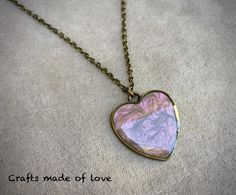 Pink/grey heart shaped pendant by CraftsMadeOfLoveShop on Etsy https://www.etsy.com/nz/listing/515326295/pinkgrey-heart-shaped-pendant