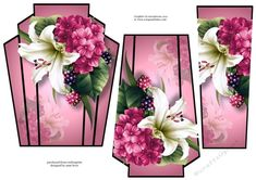 Art Deco Stacker - Lilies &amp Berries Pink by Anne Lever This lovely art deco style shaped topper has two stacker layers to add depth. It features beautifully painted lilies and hydrangeas. Purple Calla Lilies, Purple Lily, Decoupage Printables, Printable Crafts, 3d Cards, Decoupage Paper, Free Paper, Hobbies And Crafts, Art Deco Fashion