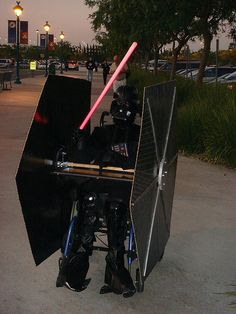 This clever fan converted his wheelchair into a tie fighter making this the coolest Darth Vader costume we've ever seen.