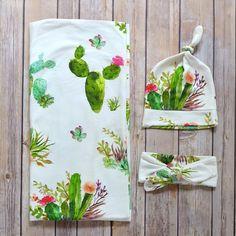 Swaddle Blanket Set / Hospital Blanket set / cactus & succulent / modern / baby girl / boho