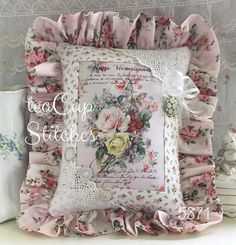 Pink Roses Bouquet~ACCENT PILLOW~~Vintage Earring~Glass Buttons~Chic Shabby~5871 #Unbranded