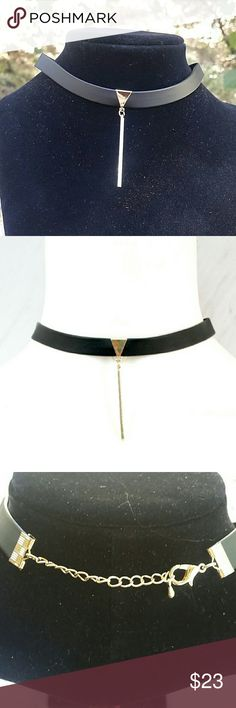 "Sexy Dangle Choker Faux black leather with a gold tone triangle & dangle bar. Can be worn between 12.5""-14"" Boutique  Jewelry Necklaces"