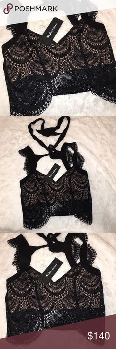 For Love & Lemons NWT Rosalita top!!! Size Large The most beautiful Crop lace top I've ever seen! Super cute for that night out! Item is NWT For Love and Lemons Tops Crop Tops