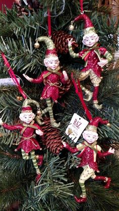 "Set 4 NWT RAZ Imports 5"" Santa's Elves ELF Christmas ORNAMENTS Tree Decorations #RAZImports"
