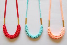 pale red woven fabric necklace with brass rectangle by nanoukiko, $21.00