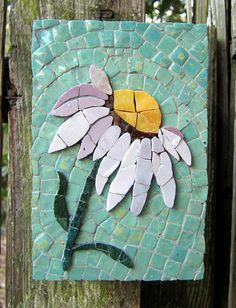 """4""""x6"""" Purple Coneflower mosaic with the flower made with Mexican smalti and the background a turquoise in Morocco made ceramic tiles."""