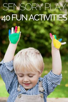Sensory Play Activities If you're looking for sensory play activities for kids, you're in luck! Whether you're searching for sensory play activities for toddlers, preschoolers, kindergarteners, or school-aged children, this collection covers them all! These sensory activities are ideal for calming kids with autism, ADHD, and other special needs! Easy DIY ideas for home or school to help kids develop social, language, motor, and self-control skills! #autism #sensoryactivities