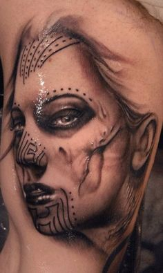 Mocho Day of the Dead tattoo by Ryan Hadley of Fort Wayne, IN