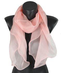 Foulard soie bords ondulés rose clair ba49a54cabe