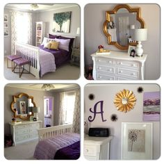 Glamorous Bedroom for a Young Lady in Deep Purple, Gray and Antique Gold